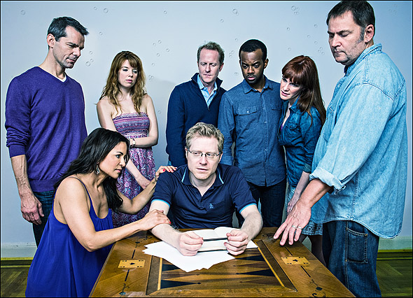 J. Robert Spencer, Alisa Ledyard, Doug Chapman, Cheo Bourne, Alana Rader, Brian Dykstra; Front row left to right: Karmine Alers, and Anthony Rapp in The Water Dream