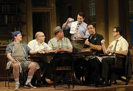 Nathan Lane, Lee Wilkof, Rob Bartlett, Matthew Broderick, Brad Garrett and Peter Frechette  in The Odd Couple