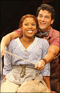 Eleasha Gamble and Nicholas Rodriguez in Arena's <i>Oklahoma!</i> in fall 2010.
