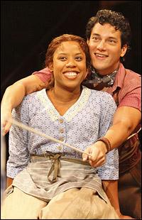 Eleasha Gamble and Nicholas Rodriguez in Arena's <i>Oklahoma!</i> in fall 2010.