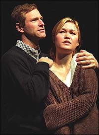 Aaron Eckhart and Julia Stiles in <i>Oleanna</i>