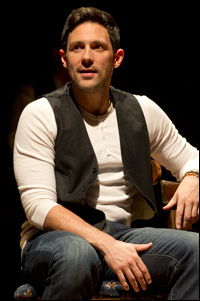Steve Kazee in the Broadway production of <i>Once</i>.