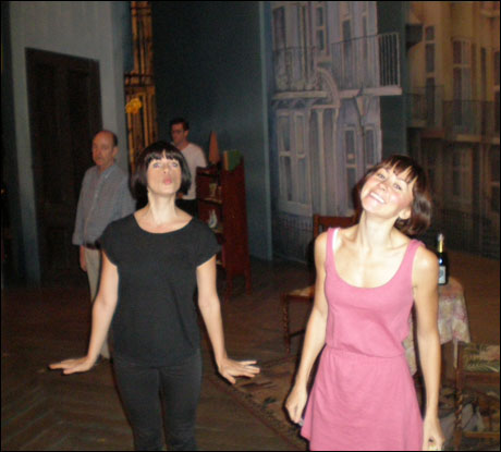 """Jemima Rooper and Claire Lams warming up on stage to a little """"North Peckham Civic Centre."""""""