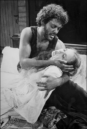 Raul Julia and Frances Conroy in Othello, 1979