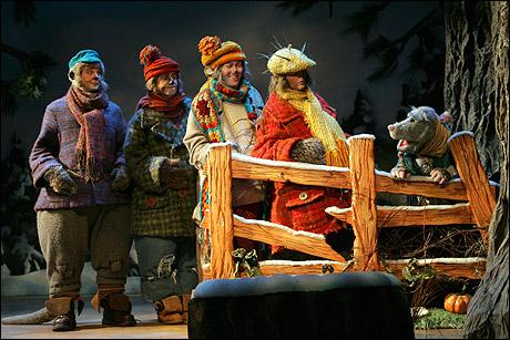 "Justin Bohan, Matt Furtado, Stanley Bahorek, Scott Barnhardt and ""Penelope Possum"" (puppeteer Anney Ozar)"