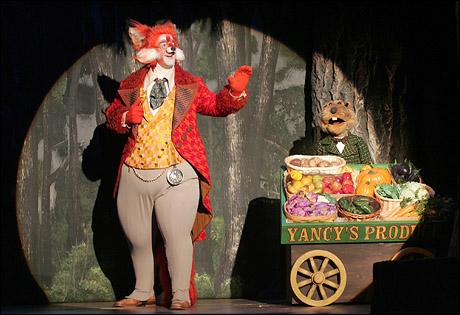 "Thomas Cannizarro and ""Yancy Woodchuck"" (puppeteer David Stephens)"