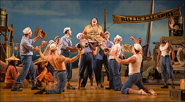 Loretta Ables Sayre (center) and the cast of South Pacific