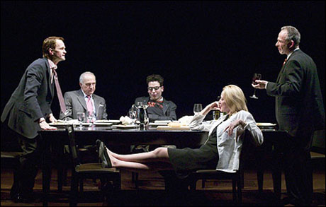 Neil Patrick Harris, Lawrence Pressman, Josh Radnor, Patricia Wettig and Ron Rifkin in the 2004 Los Angeles production The Paris Letter.