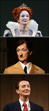 Kathleen Chalfant as Queen Elizabeth, Hitler and Reagan in <I>Passion Play</I>