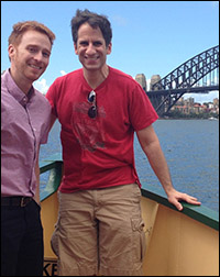 Seth and Paul Castree in front of the Sydney Bridge