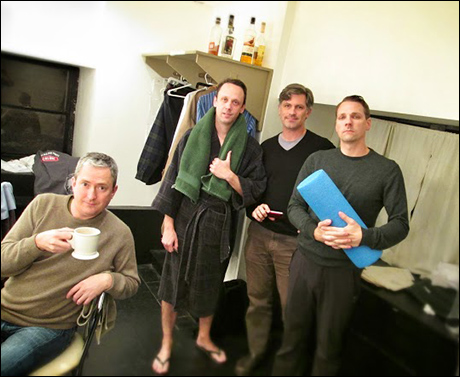 Michael and I share a dressing room with the wonderful men of Elevator Repair Service. They were in the last weekend of performances for their show, Arguendo.