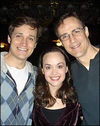 Michael Shawn Lewis, Julie Hanson and Howard McGillin celebrate <i>The Phantom of the Opera</i>'s 19th anniversary.