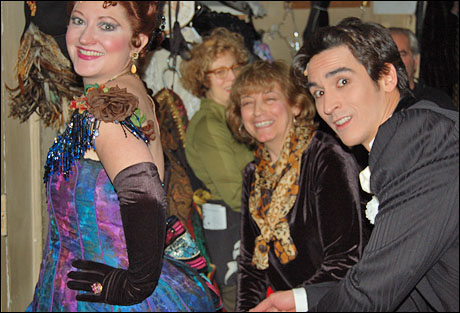 On the way to the dressing room scene, I ask Marge Marchioni in wardrobe (center), if I can possibly get my IATSE card by helping the lovely Madame Fifi, Kris Koop.