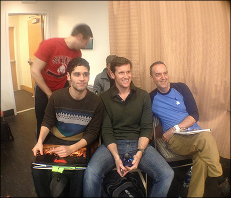 From left: Chad Coudriet, Perry Sherman, Michael Jablonski, Kevin Vortmann and Dale Hensley take 5 during rehearsal