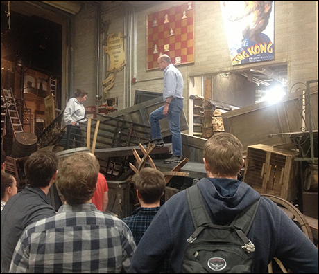 Director Charles Morey and Choreographer Karen Azenberg show us the barricade.