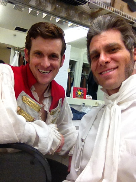 Kevin Vortmann (Enjolras) and me (Javert) taking a selfie backstage.