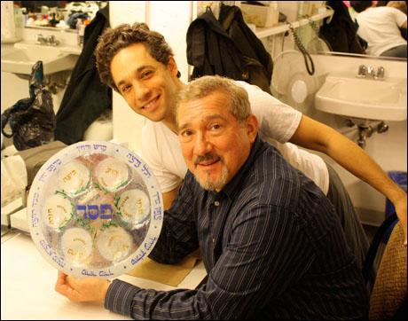 This Saturday was extra special.  It was Passover, so I asked Roundabout if we could hold a Seder between shows.  Not only did they okay it, but they took care of everything. Stuart Zagnit holds a beautiful Seder plate that he brought from home.