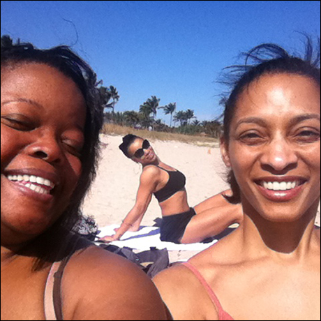 Group photo of me, Cheryse McLeod Lewis and Nicole Adell Johnson soaking in the beautiful Sunday sun before a show