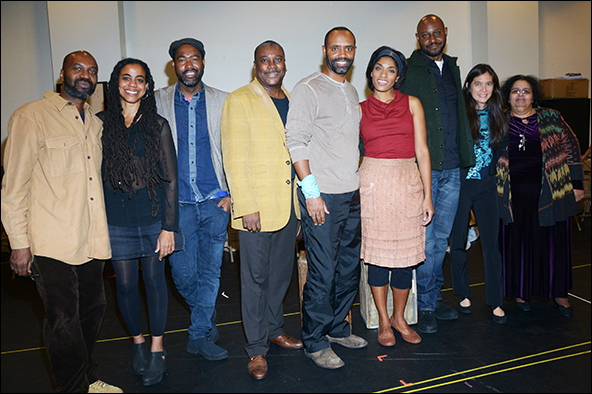 Kingsley Leggs, Nathaniel Stampley, Alicia Hall Moran and Alvin Crawford with members of the creative team