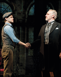 Jeremy Jordan and John Dossett, as Joseph Pulitzer, in <i>Newsies</i>