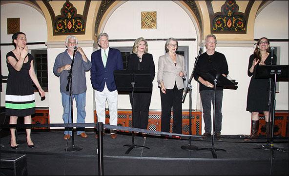 Jeanine Tesori, John Schimmel, Jim Wann, Debra Monk, Cass Morgan, John Foley and Lear deBessonet