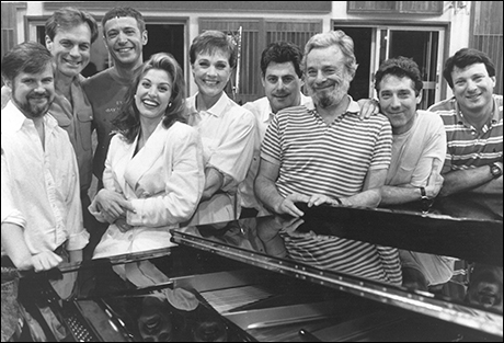 Chris Durang, Stephen Collins, Scott Frankel, Rachel York, Julie Andrews, Cameron Mackintosh, Stephen Sondheim, Michael Rupert and Jay David Saks at the Putting It Together recording session