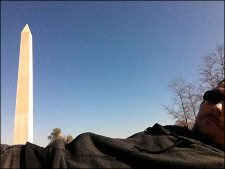Cast mate Jason Wooten and the….ahem…Washington Monument.