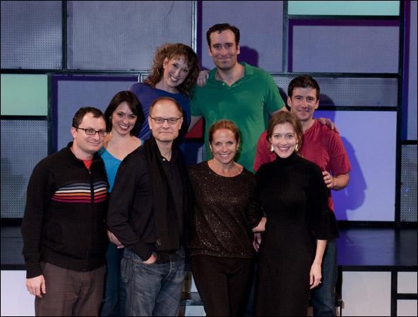 Front row: Dan Lipton, David Hyde Pierce, Katie Couric, Sandy Rustin Back row: Joanna Young, Courtney Balan, Chris Hoch and David Josefsberg