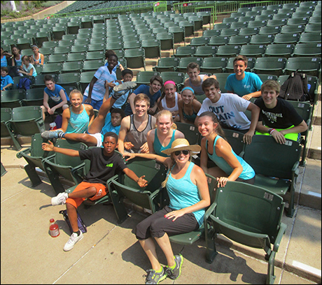The MUNY teens and kids hang out with Jessica Hartman.