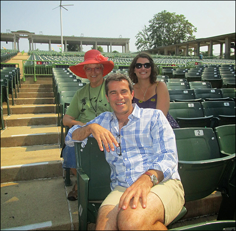 MUNY Artistic Director Mike Isaacson and MUNY Casting Director Megan Larche Dominick hang out in the seats with Valerie.