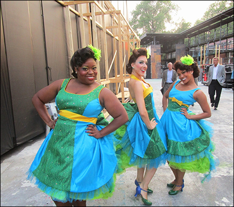 Finally in our costumes! Check out the gorgeous Bird Girls Allyson Kaye Daniel, Jessica Lea Patty, and Shea Renee.