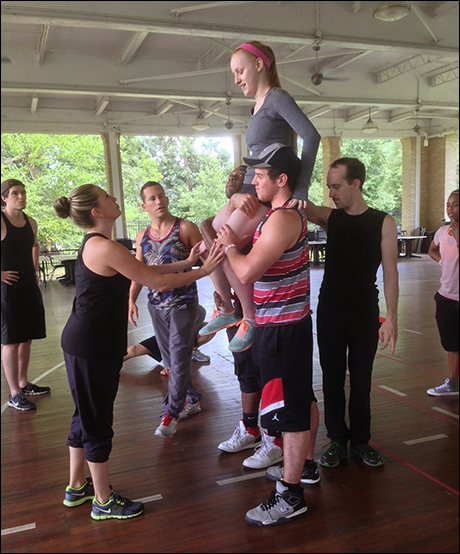 Our associate choreographer Jessica Hartman workshops a lift with Abigail Isom who is playing Jojo.