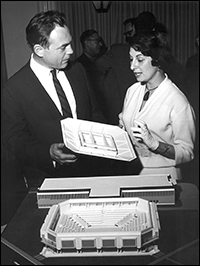 Architect Harry Weese with Arena Stage co-founder Zelda Fichandler and a model of the original Arena Stage