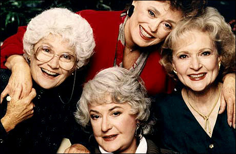 "Bea Arthur (center) with ""Golden Girls"" co-stars Estelle Getty, Rue McClanahan and Betty White"