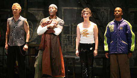 Will Chase, Michael McElroy, Eden Espinosa and Rodney Hicks in Rent on Broadway