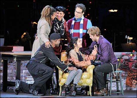 Tracie Thoms, Nicole Scherzinger, Skylar Astin, Aaron Tveit, Vanessa Hudgens and Wayne Brady in the musical Rent at the Hollywood Bowl, 2010