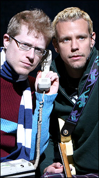 Anthony Rapp and Adam Pascal in <I>Rent</I>.
