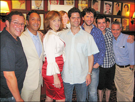 Alice Ripley with Michael Greif (far left), Jeff Mahshie, Tom Kitt, Louis Hobson, Adam Chanler-Berat and David Stone