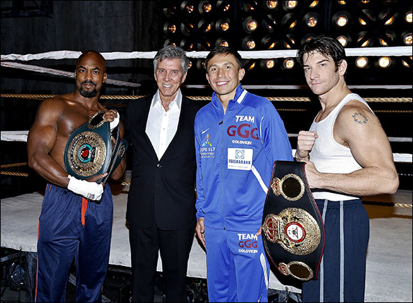 Terence Archie, Gennady Golovkin, Michael Buffer and Andy Karl