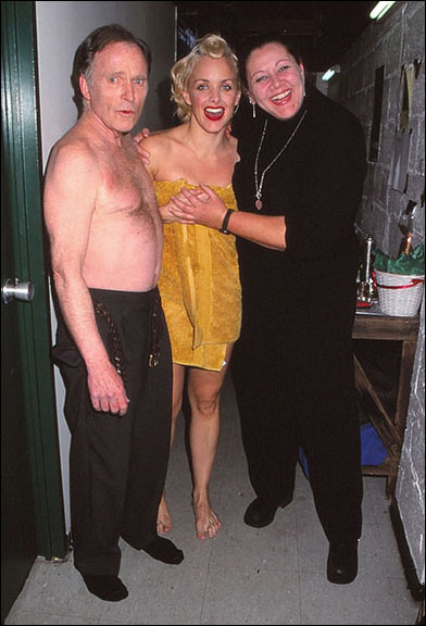 Dick Cavett and Alice Ripley pose with Camryn Manheim backstage at The Rocky Horror Show in November 2000.