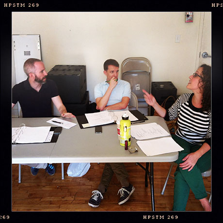 A Triangle creative team meeting: (L-R) composer Curtis Moore, book/lyricist Thomas Mizer, and Director Meredith McDonough
