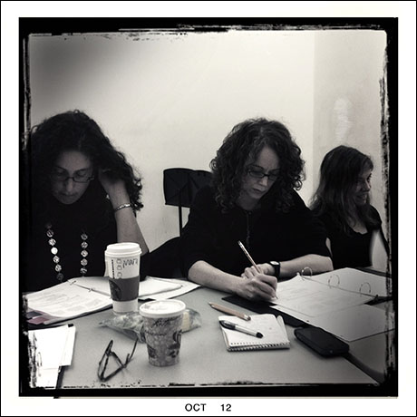SBW directorial/writing staff hard at work: (L-R) Producer Mara Issacs, Director Rebecca Taichman, and book writer Rachel Sheinkin.