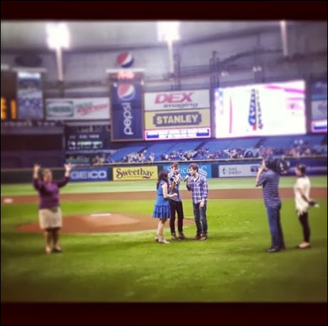 """""""The Ball Game"""" Rachel Potter, Chase Peacock and Lucas Wells sing a beautiful Spring Awakening-inspired national anthem for the Tampa Bay Rays game"""