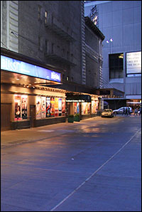 A deserted Shubert Alley on Tuesday