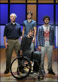 John Dossett, Aaron Tveit, Van Hughes and Curtis Holbrook in the Off-Broadway musical Saved, 2008