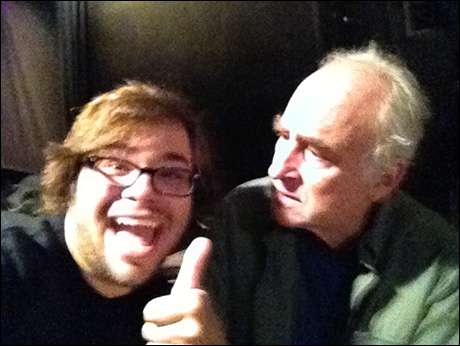 """Here's me with my """"Dad"""" Jeff DeMunn! We were in the middle of going over a scene. Jeff said, """"Charlie, I don't want to be rude, but the camera phone's a little distracting."""" To which I replied """"Jeff I think you skipped a line."""""""