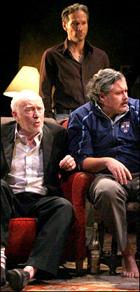 Jim Norton, Sean Mahon and Conleth Hill in <i>The Seafarer</i>.