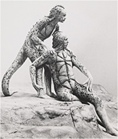 Maureen Anderman and Frank Langella in the 1975 Broadway production Seascape.