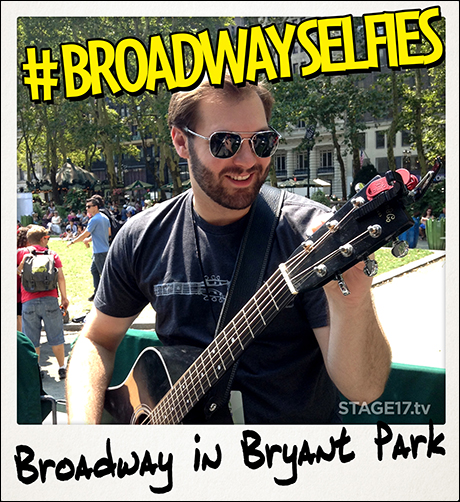 Ben Hope (Once) gets in tune for his performance at Broadway in Bryant Park today.