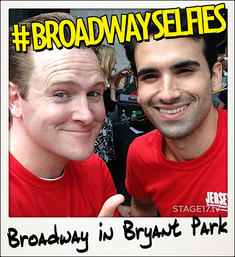 Jared Bradshaw and Mauricio Perez of Jersey Boys having fun with Stage17's iPod for #BroadwaySelfies.